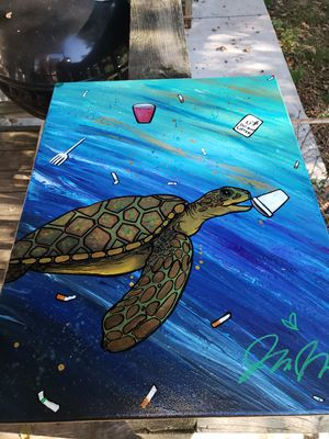 Glow in the dark sea turtle painting for Sale in St. Louis, MO