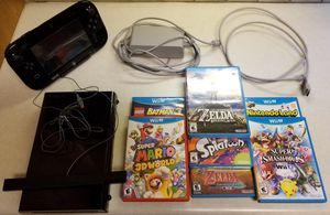 Nintendo Wii U Deluxe Black 32 Gb Console +7 Games ( including Breath of the wild) for Sale in Sugar Land, TX