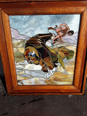 """Rare Vintage 1984 Handmade Framed Stained Glass Window by Artist """"Powers"""" #01 of 100 Made for Sale in Phoenix, AZ"""