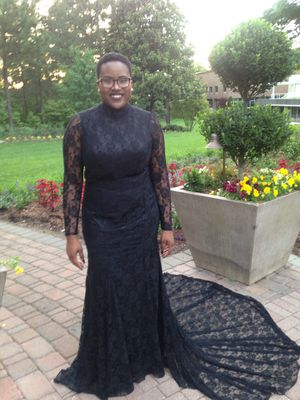 black prom dress w/lace detail for Sale in Raleigh, NC