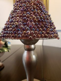 Nickel /beaded tea lamp. 8 1/2 inches. Decorative. Hand made in India. Adds chic boho decor to any room for Sale in Miami,  FL