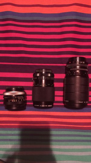 Three Canon Camera Lenses(not for a digital camera) for Sale in Houston, TX