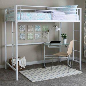 Walker Edison Twin Metal Loft Bed, White, bunk bed - $150 for Sale in Mobile, AL