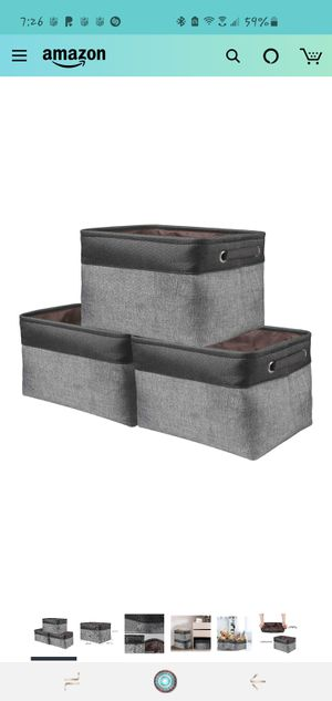 Storage Basket Bin Set [3-Pack] Storage Cube Box Foldable Canvas Fabric Collapsible Organizer with Handles for Home Office Closet Toys for Sale in Long Beach, CA