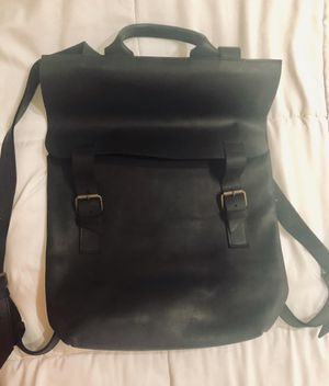 Black leather men's office backpack for Sale in New York, NY