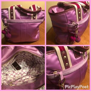Coach Hampton nylon sateen carry on tote bag lilac purple for Sale in Margate, FL