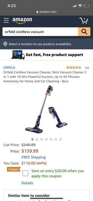 Orfeld cordless vacuum for Sale in Los Angeles, CA