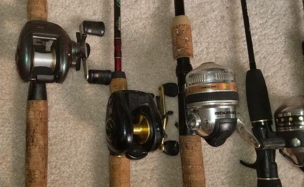 9 Fishings Poles and 7 Reels