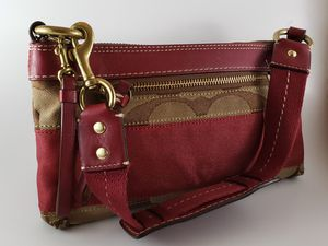 Coach handbag- dark red and tan-size small for Sale in Harrisburg, PA