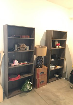 Two grey wood bookshelves for Sale in Los Angeles, CA
