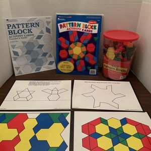 Learning Resources Pattern Block Activity Cards And Tub Of Wooden Pattern Blocks Kids Boys Girls Educational School Toy for Sale in San Diego, CA