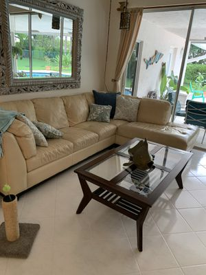 Sofa with chaise 83 inches long faux leather for Sale in Pompano Beach, FL