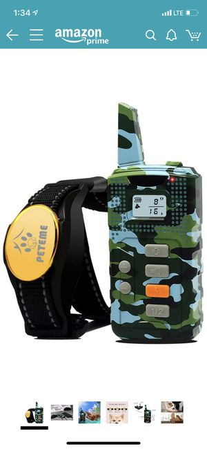 Peteme Shock Collar for Dogs, Dog Training Shock Collar Rechargeable with Beep/Vibration/Shock,100% Waterproof, 1200 ft Remote Trainer Range Collar f for Sale in Pasadena, CA