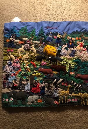 Cloth Quilt zoo art landscape for Sale in San Diego, CA