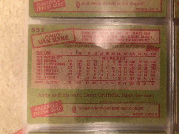 1985 Andy van slyke topps baseball card