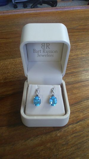 Blue Topaz White Gold and Diamond Accent Earrings for Sale in Salt Lake City, UT
