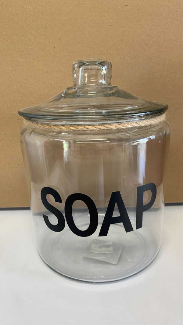 Medium and large glass jars for bathroom or storage soap
