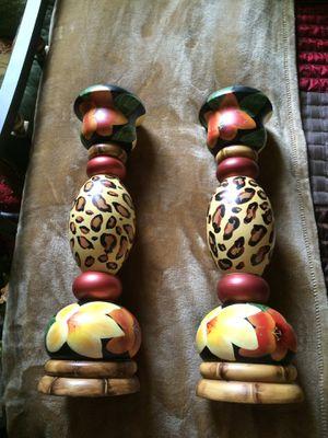 Pair of Wooden Safari Leopard Candle Holders for Sale in Hampton, VA
