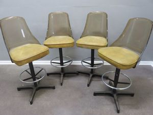 Mid century modern lucite smoke swivel vinyl bar stools firm set 4 for Sale in Broadview Heights, OH
