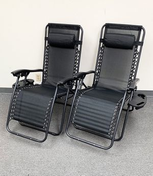 (New in box) $70 (set of 2) Tan or Black Adjustable Zero Gravity Lounge Chair Patio Pool w/ Cup Holder for Sale in Whittier, CA