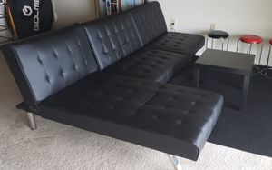 Futon Sofa with Convertible Chaise Lounger, Black Faux Leather for Sale in Falls Church, VA