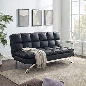 """Sofa Bed, Tribesigns 70.5"""" Bond Leather Futon Couch with Stainless-Steel Legs Convertible Sleeper Twin Convertible Sofa Black for Sale in Ontario, CA"""