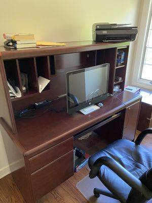 Dark brown desk with drawers and desk chair. for Sale in Lincolnshire, IL