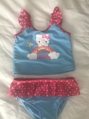 LITTLE GIRLS SIZE 3T SKY BLUE HELLO KITTY 2 PIECE SWIMMING SUIT WITH PINK & WHITE POLKADOT RUFFLE TRIM for Sale in Colorado Springs, CO