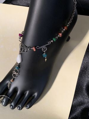 Precious stone hand crafted beach anklet with toe ring for Sale in West Hempstead, NY