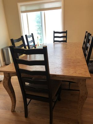 Rustic farmhouse dining table and 6 chairs for Sale in San Ramon, CA