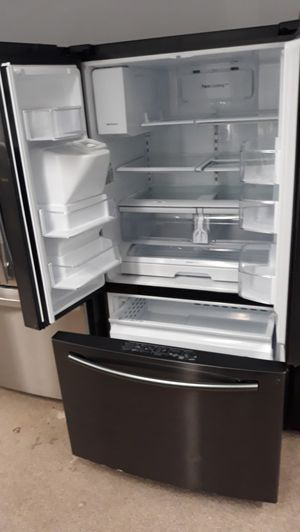 Dark stainless steel French doors refrigerator excellent condition like new conditions for Sale in MD CITY, MD