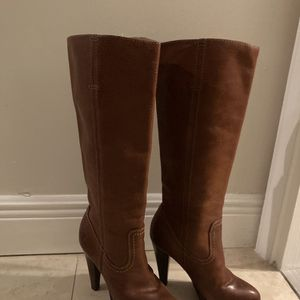 "Women's Frye Harlow Campus Brown Leather Boot Size 5.5M Stacked 4"" Heel for Sale in Fort Lauderdale, FL"