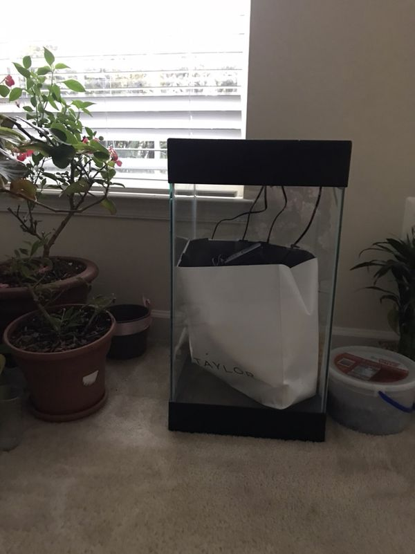 FISH TANK WITH DECOR & EXTRA FILTER
