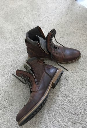 Men's 10 Leather Boots Franco Fortini Brown Warm Winter Comfortable Shoe Worn Twice for Sale in St. Petersburg, FL