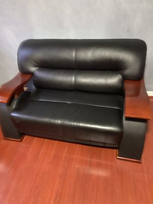 Black leather couch for Sale in Burke, VA