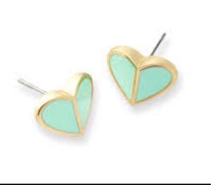 KATE SPADE NEW YORK GOLD TEAL BLUE HERITAGE HEART DESIGNER LOGO STUDS EARRINGS for Sale in Macomb, MI