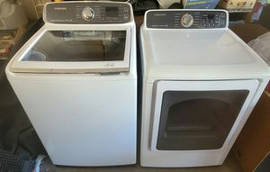 Washer and Dryer Gas, Samsung Ultra Large Capacity, Steam Sensor, Newest Model, Excellent Working Condition Like New for Sale in West Covina, CA