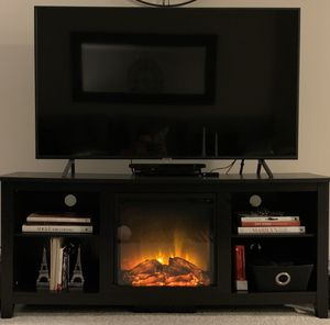 TV Stand with Fireplace in Black for Sale in Chicago, IL