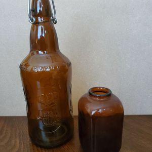 Amber Antique Bottle & Mini Vase for Sale in Phoenix, AZ