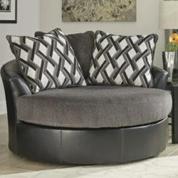 New Kumasi Smoke Oversized Swivel Accent Chair with Pillows for Sale in Silver Spring,  MD