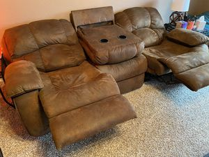 2 push button reclining couches hiding armrest for Sale in Frisco, TX