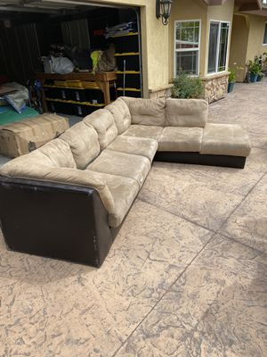 Khaki and Brown Sectional Sofa *FREE* Pick up only* for Sale in Redlands, CA