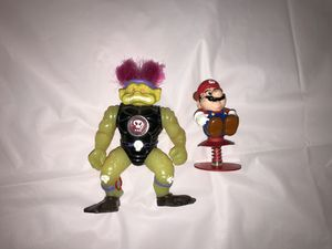 Vintage figures mario raccoon pop up 1989 /1993 zink the horrible stone protectors 80's 90's for Sale in Phillips Ranch, CA