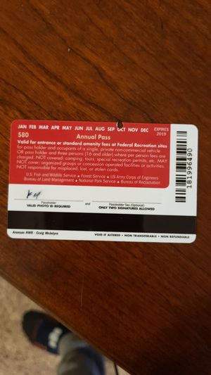 National park annual pass(~Oct/19) for Sale in Niceville, FL
