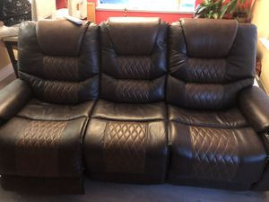 Two shade brown recliner, head, back and feet adjustable seats for Sale in Novato, CA