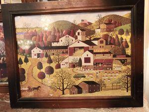 Pair of vintage prints in wood frame for Sale in San Antonio, TX