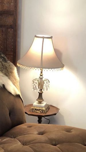 Brass lamp marble & crystal for Sale in Wilmette, IL