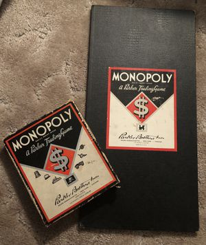 PARKER MONOPOLY GAME EARLY VERSION 1937-1949 JUNIOR BLACK BOX & BOARD 7 TOKENS for Sale in Central Point, OR