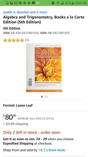 College Math Texbook for algebra and trigonometry and or precalculus for Sale in Cleveland, OH