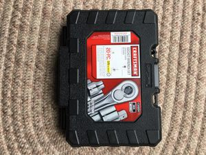 """Lot of three tools!! 20 pc socket wrench 3/8 drive set, 7 pc damage bolt out set and speedy 3/8 """" drive rachet. All new!! for Sale in Malvern, PA"""